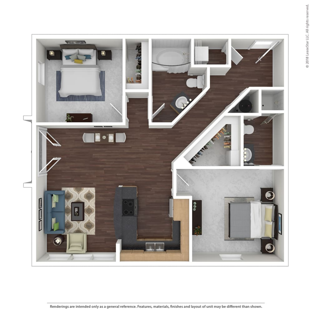 B1 with furniture Floor Plan at 45 Madison Apartments, Kansas City, 64111