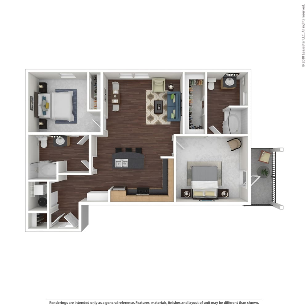 B2 with Furniture Floor Plan at 45 Madison Apartments, Kansas City, Missouri