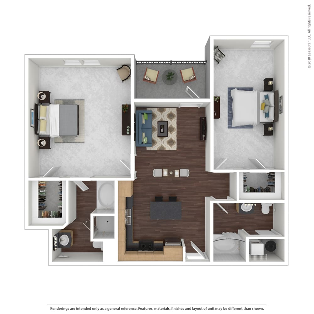 B4 with Furniture Floor Plan at 45 Madison Apartments, Missouri