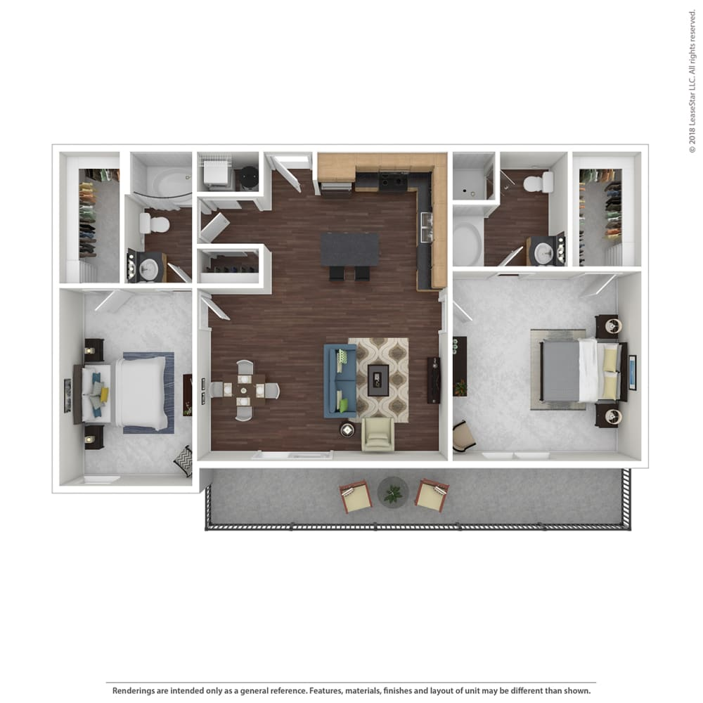 B5 with furniture Floor Plan at 45 Madison Apartments, Missouri, 64111