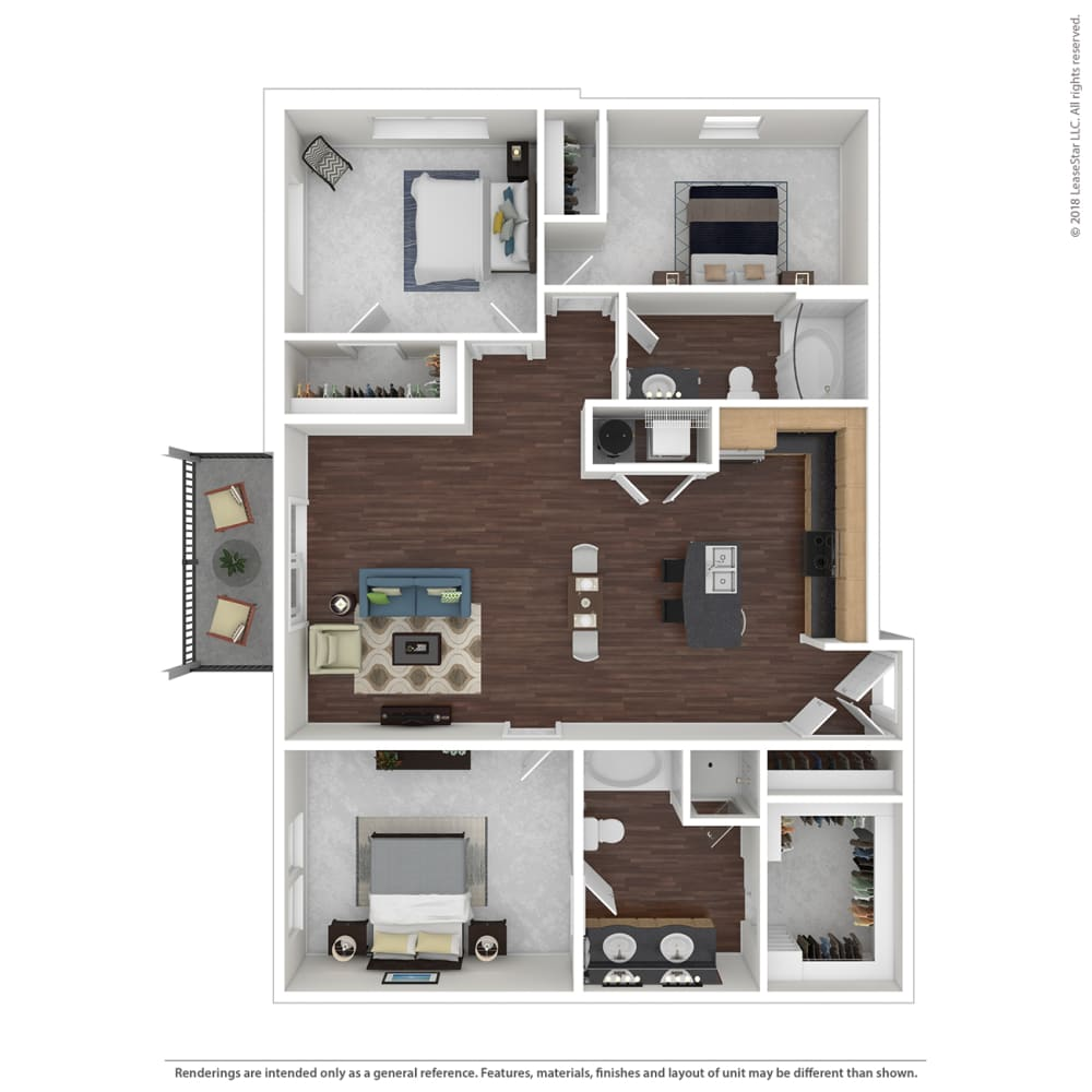 C1 with Furniture Floor Plan at 45 Madison Apartments, Kansas City, MO, 64111