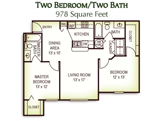 2 Bedroom 2 Bath Floor Plan, 978 Square Feet