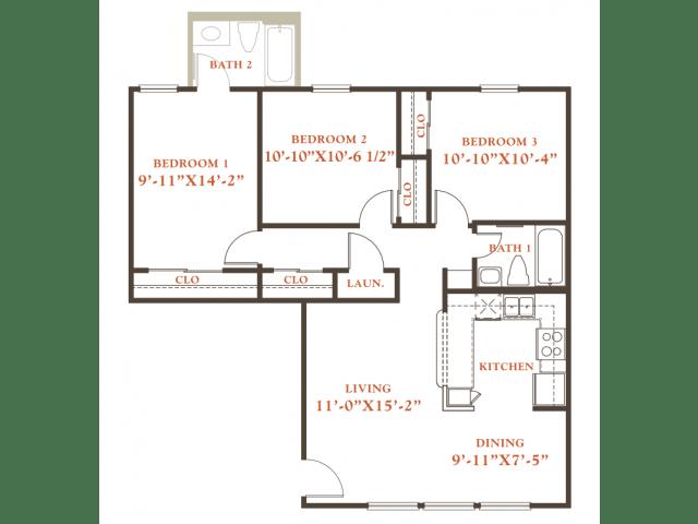 Holly floor plan, 3 bedrooms 2 baths, 1,022 sqaure feet at Britain Way Apartments