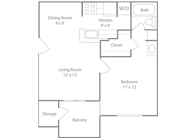 Ascot Floorplan 1 Bedroom 1 Bath 564 Total Sq Ft at The Edge of Germantown Apartments Home, Memphis, TN 38120