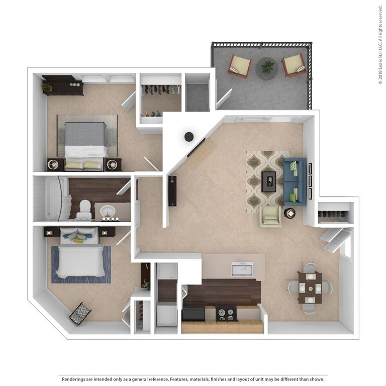 The Haywood Floor Plan at Beacon Ridge Apartments, Greenville, South Carolina