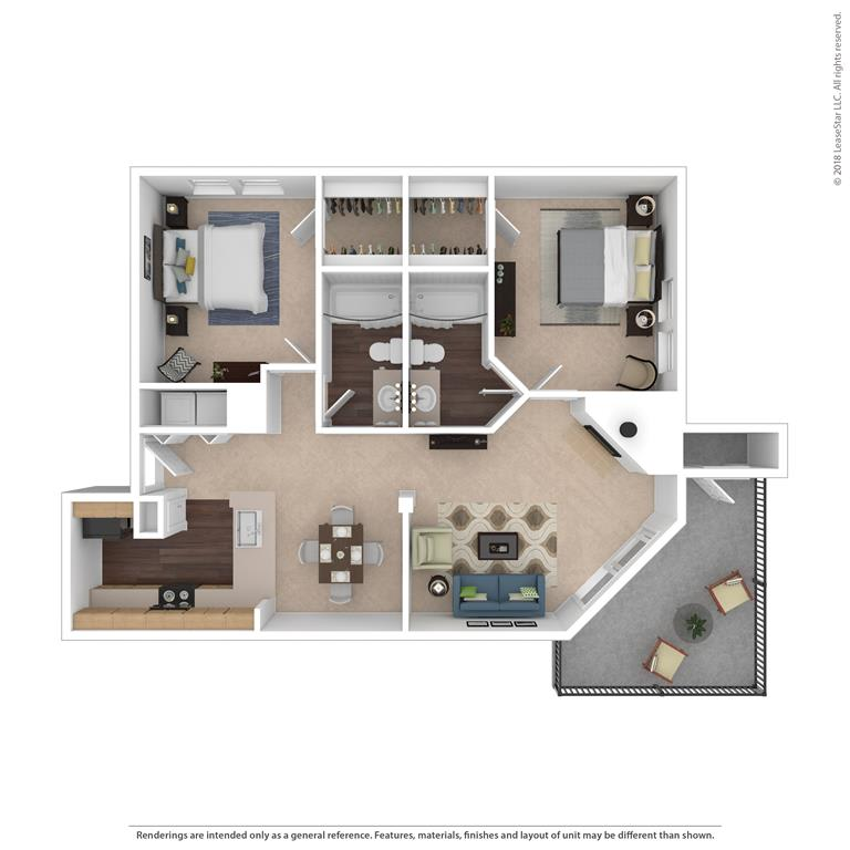 The Magnolia Floor Plan at Beacon Ridge Apartments, Greenville