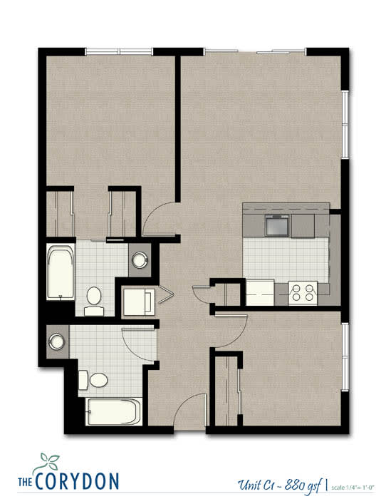 Two Bedroom C1 FloorPlan at The Corydon, Seattle, 98105