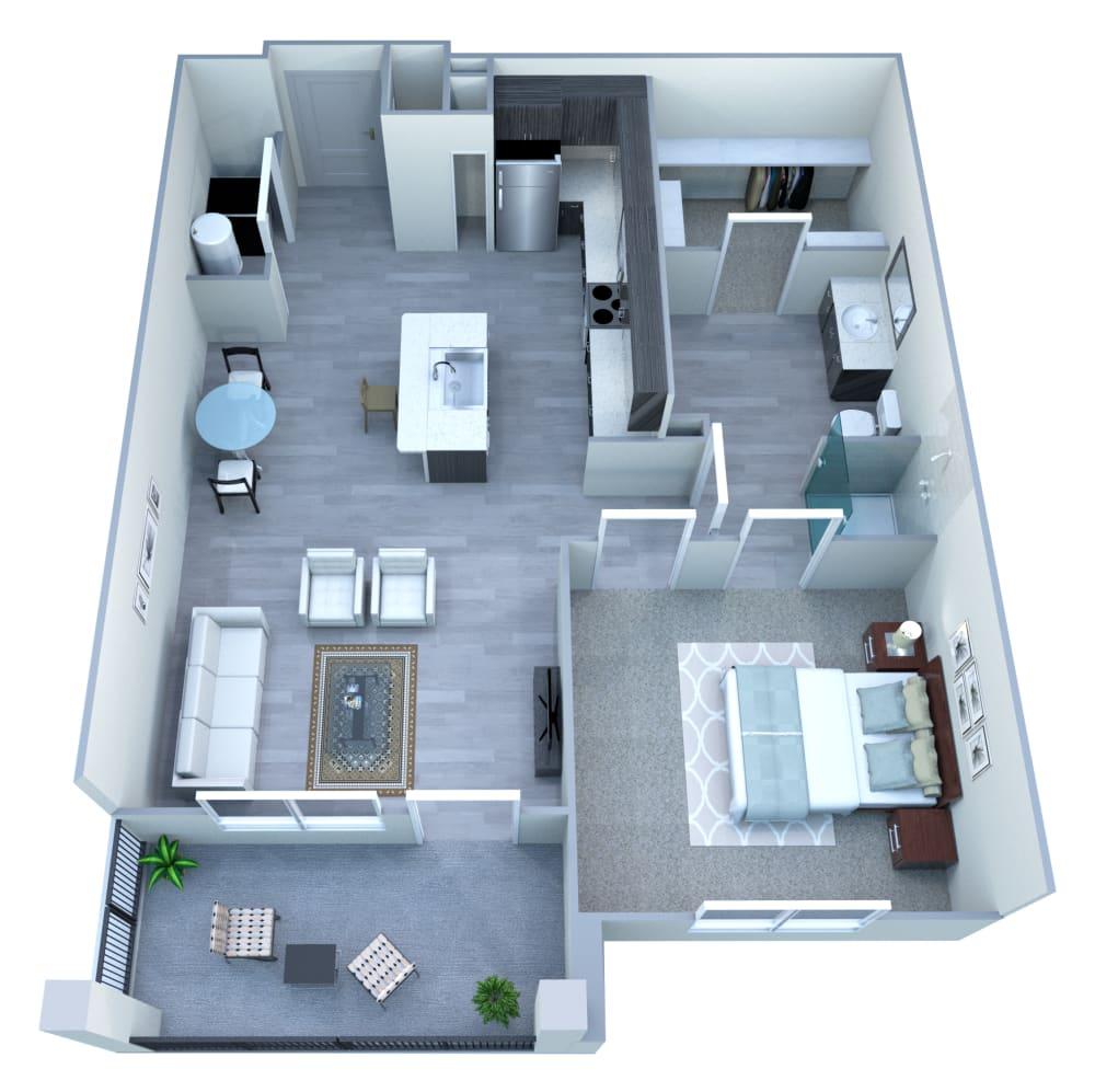 1 bedroom 1 bathroom floor plan McClintock Station in Tempe, AZ