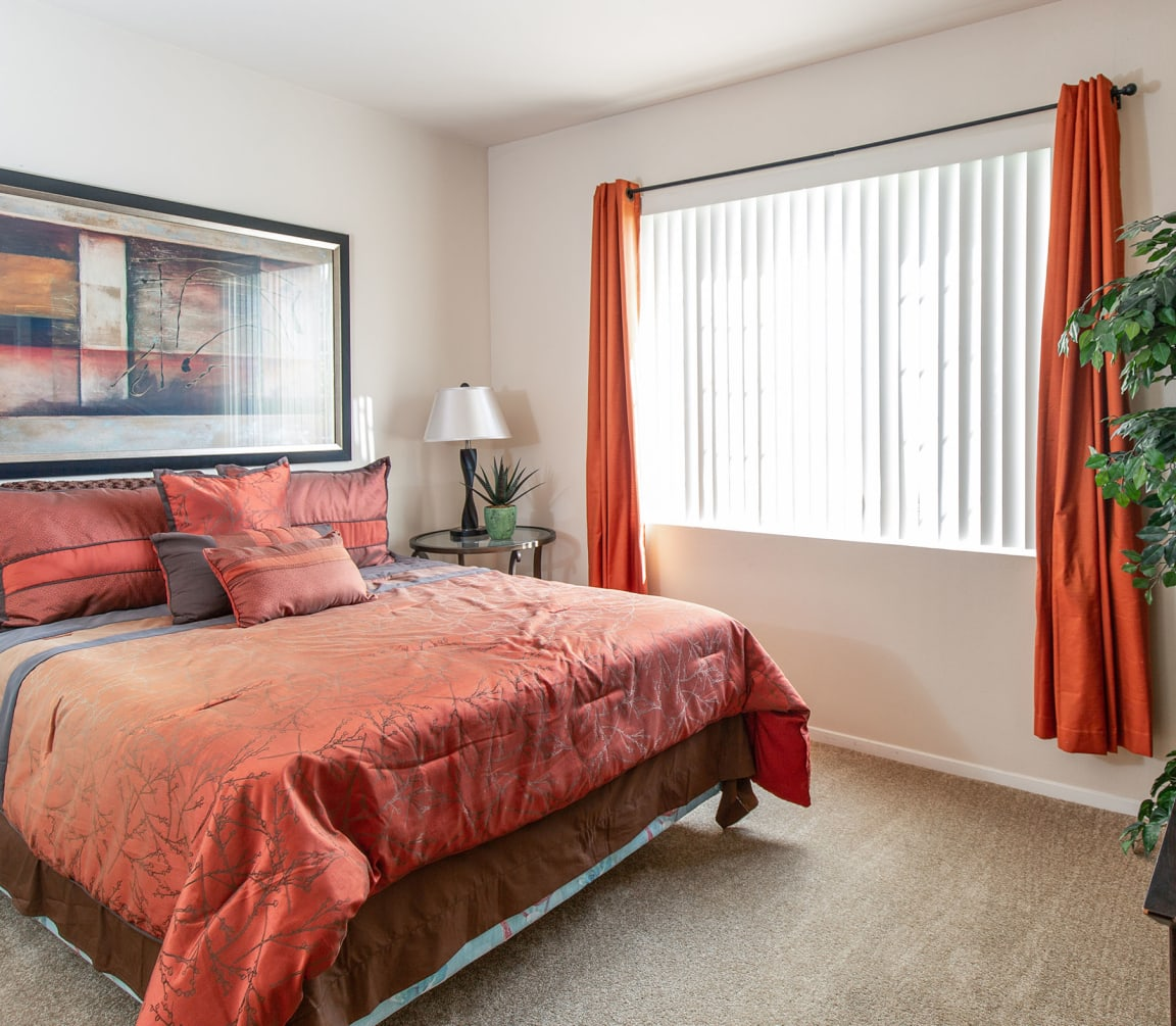 Comfortable Bedroom With Large Window at Indigo Creek Apartments, Thornton, CO, 80229