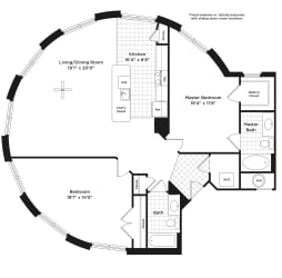 1340 square foot two bedroom apartment
