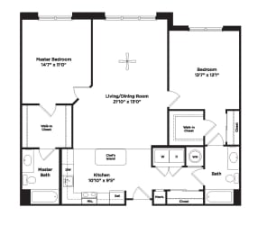 1222 square foot two bedroom apartment