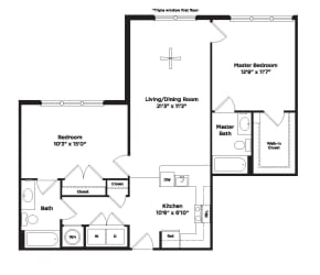 979 square foot two bedroom apartment