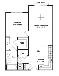 724 square foot one bedroom apartment