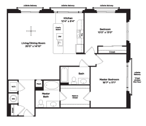 1160 square foot 2 bedroom apartment