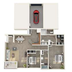 2 bedroom 2 bathroom floor plan image in Phoenix AZ