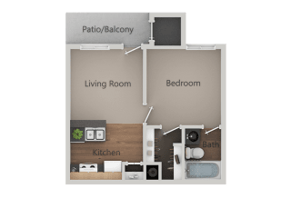 One Bed One Bath Floor Plan at Cimarron Place Apartments, Arizona, 85712