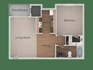 One Bed One Bath Floor Plan at Cimarron Place Apartments, Tucson, AZ