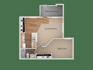 1 Bed 1 Bath Floor Plan at Aspen Park Apartments, Sacramento, CA, 95823