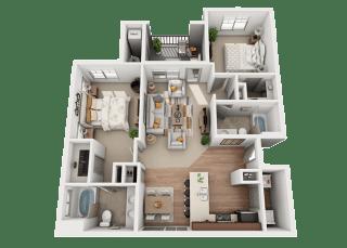 2 bedroom 2 bath Floor Plan at Foothill Lofts Apartments & Townhomes, Logan, Utah