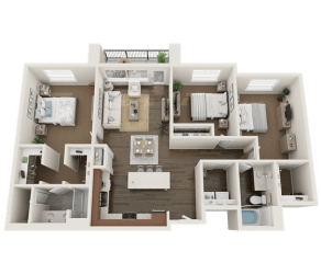 3 BEDROOM Floor Plan at Foothill Lofts Apartments & Townhomes, Logan, Utah