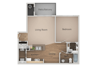 1 Bed 1 Bath Floor Plan at RemingtonApartments, Utah, 84047