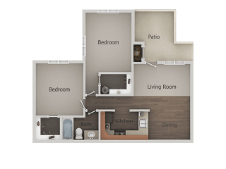 2 Bedroom 1 Bathroom Floor Plan at River Point Apartments, Arizona, 85712
