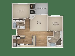 B1 2Bed_2Bath at Echo Ridge Apartments, Castle Rock, Colorado