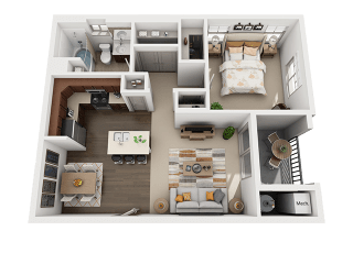 1 Bedroom 1 Bathroom Floor Plan at Four Seasons Apartments & Townhomes, North Logan