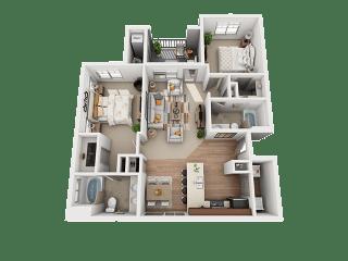 2 Bed 2 Bath Floor Plan at Four Seasons Apartments & Townhomes, North Logan, UT, 84341