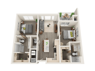 Two bedroom Two bathroom Floor Plan at Soleil LoftsApartments, Herriman, 84096