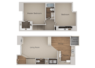 2 Bedroom 1 Bath Floor Plan at River Oaks Apartments & Townhomes, Hanford