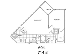 Floor Plan 1 Bedroom, 1 Bath 714 SF KA4.1