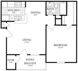 Floor Plan 1 Bed, 1 Bath 644 SF 11