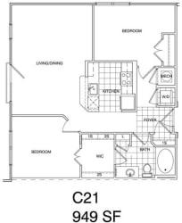 Floor Plan 2 Bedroom, 2 Bath 1067 SF KC2.1