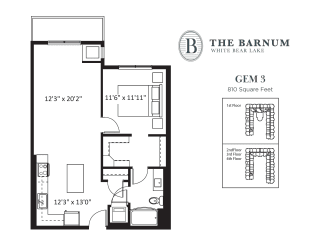 Gem Floor Plan at The Barnum, White Bear Lake, Minnesota