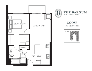 Goose Floor Plan at The Barnum, White Bear Lake, Minnesota