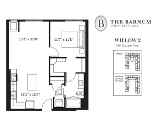 Willow Floor Plan at The Barnum, White Bear Lake, MN, 55110