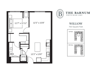 Willow Floor Plan at The Barnum, White Bear Lake, 55110