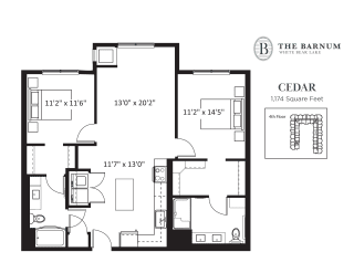 Cedar Floor Plan at The Barnum, Minnesota, 55110