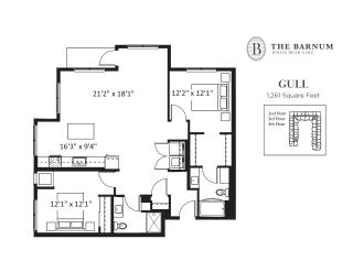 Gull Floor Plan at The Barnum, White Bear Lake
