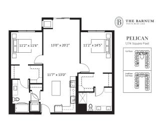 Pelican Floor Plan at The Barnum, Minnesota, 55110