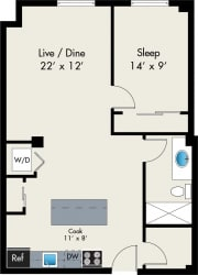 One Bedroom floor plan at the Lofts at Gin Alley, Chicago, IL 60607