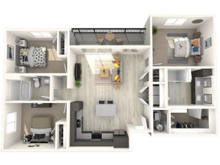 C1 Floor Plan at Paradise @ P83 Apartments, P.B. BELL Assets, Arizona