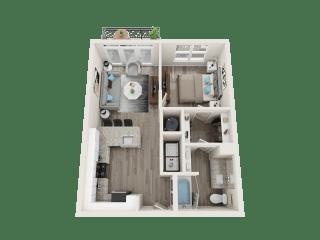 A3_A Floor Plan at Link Apartments® Linden, Chapel Hill