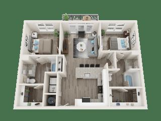 B1 A Floor Plan at Link Apartments® Linden, Chapel Hill, NC