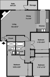 Floor Plan 3B2B-C23 1225