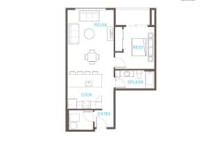 1 Bedroom 1 Bathroom Floor Plan at Vue 22 Apartments, Washington