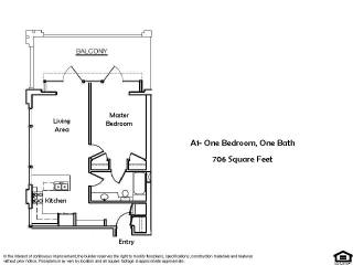 A1 B 1 Bed 1 Bath Floorplan at Pacific Place, Daly City, CA, 94014