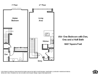 A13 1 Bed 1.5 Bath Floorplan at Pacific Place, Daly City, CA, 94014