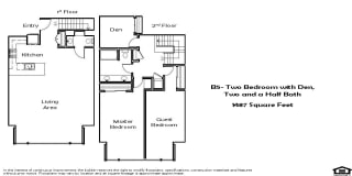 B5 2 Bed 2.5 Bath Floorplan at Pacific Place, Daly City, CA, 94014